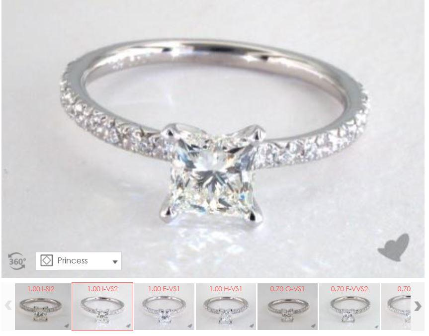 Example of your chosen diamond on a specific ring setting